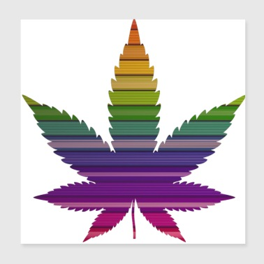Weed Weed leaf design with colorful background - Poster 20x20 cm