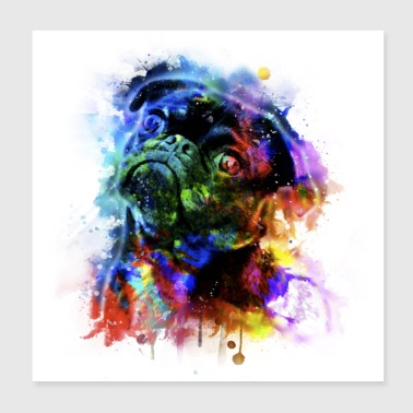 Pug watercolor explosion - Poster 20x20 cm