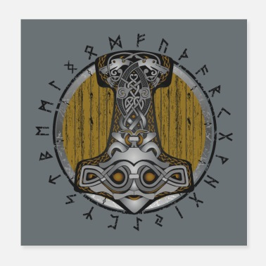 Wheel Thor hammer Mjolnir on the shield - Poster 20x20 cm