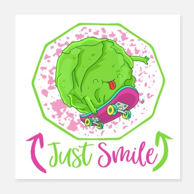 Skater Just Smile - Happy Veggie Skater Cabbage - Poster 20x20 cm