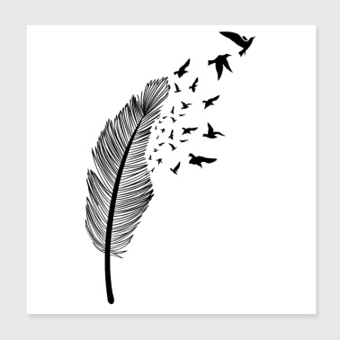 Feather and bird - Poster 20x20 cm