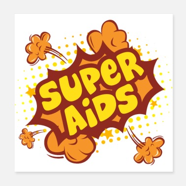 Satire Super AIDS - Poster 20x20 cm