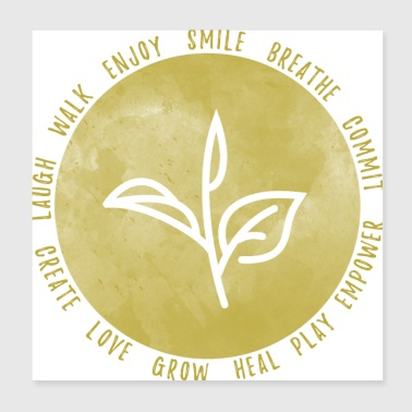 Smile Breathe Love (goud) - Poster 20x20 cm
