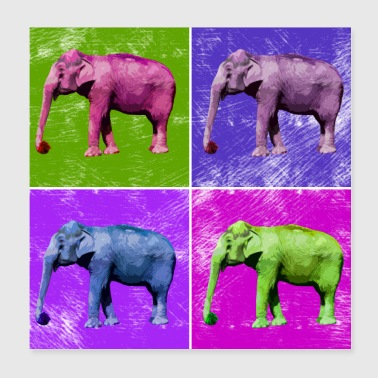 Elephant Popart Afrikka Eläimet Animal Lovers - Juliste 20 x 20 cm