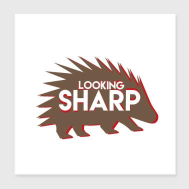 Sharp Hedgehog Animal Style Spines Presentidé Chic - Poster 20x20 cm