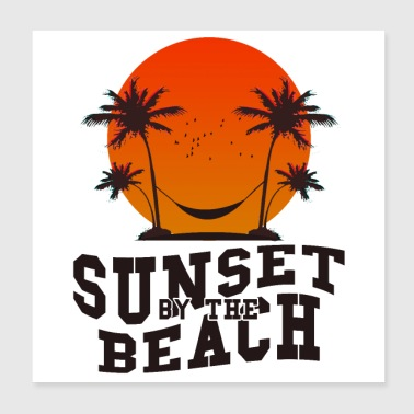 Sunset by the beach - Poster 20x20 cm