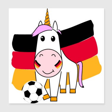 Play Boy Unicorn Violetta plays football for Germany - Poster 20x20 cm