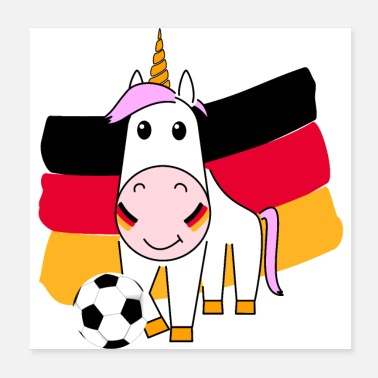 Name Day Unicorn Violetta plays football for Germany - Poster 20x20 cm