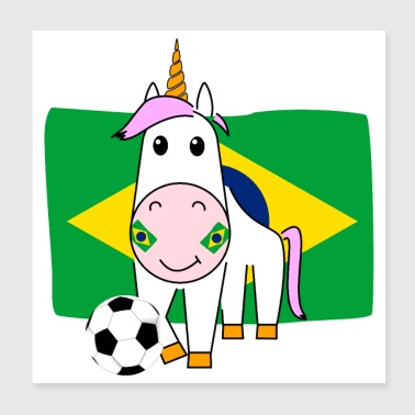 Play Boy Unicorn Violetta plays football for Brazil - Poster 20x20 cm