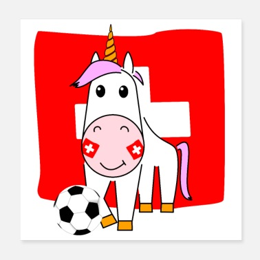 Name Day Unicorn Violetta plays football for Switzerland - Poster 20x20 cm
