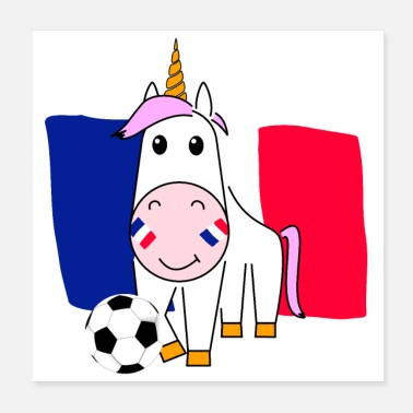 Football Licorne Violetta joue au football pour la France - Poster 20 x 20 cm