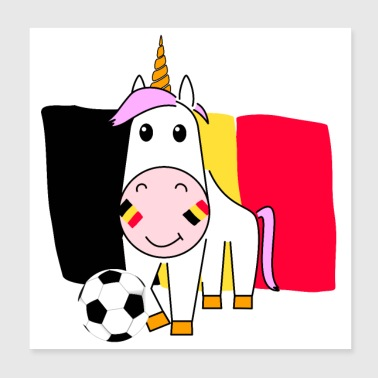 Name Day Unicorn Violetta plays football for Belgium poster - Poster 20x20 cm
