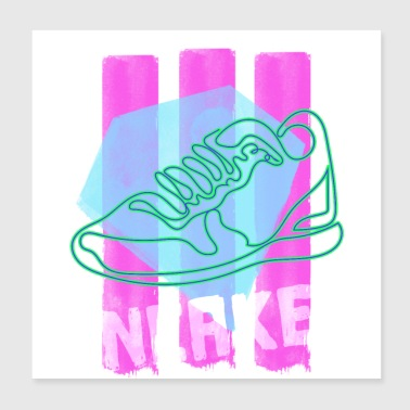 Sneaker zomer hipster neon - Poster 20x20 cm