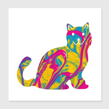 Domestic cat shorthair cat cat - Poster 20x20 cm