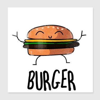 Burger Hamburger Cheeseburger - Poster 20 x 20 cm