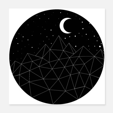 Beweging Star Moon Mountains-cadeauidee - Poster 20x20 cm