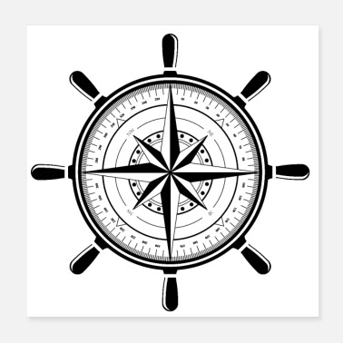 Cruise Compass black - Poster 20x20 cm