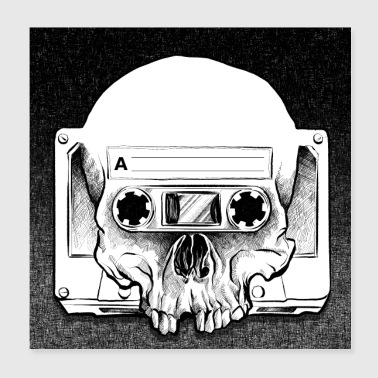 Retro Audio Skull - Juliste 20 x 20 cm