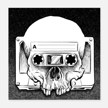 Skull Retro Audio Skull - Juliste 20 x 20 cm