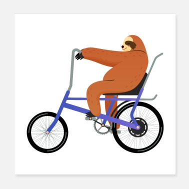 Fordon Sloth Riding On Retro Vintage Bicycle - Poster