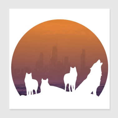 Wolf pack - Poster 20x20 cm