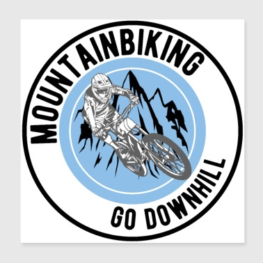 Mountainbike Downhill - Poster 20x20 cm