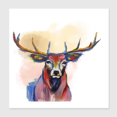 Deer head in red cloud - Poster 20x20 cm