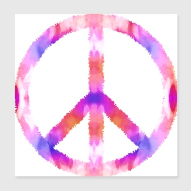 Peace sign flower watercolor - Poster 20x20 cm