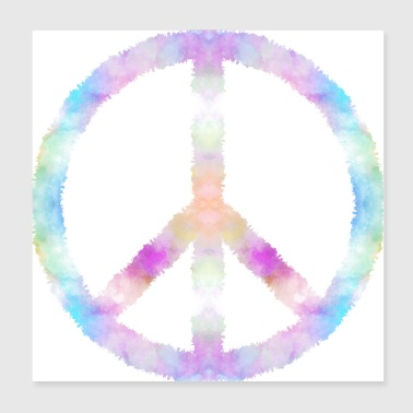 Peace sign beach flowers - Poster 20x20 cm