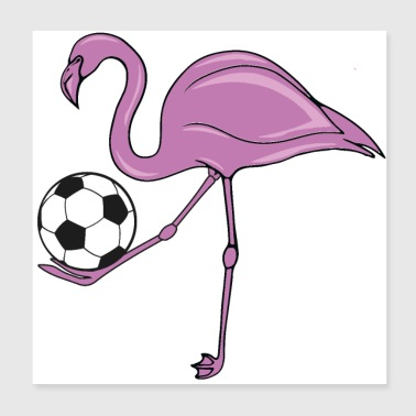 Flamingo Soccer rose cadeau de football - Poster 20 x 20 cm