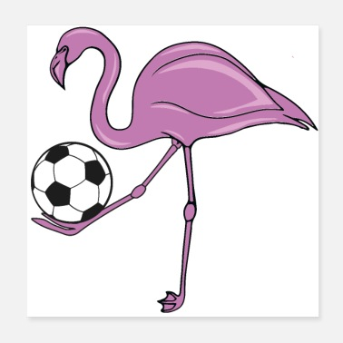 Football Flamingo Soccer rose cadeau de football - Poster 20 x 20 cm