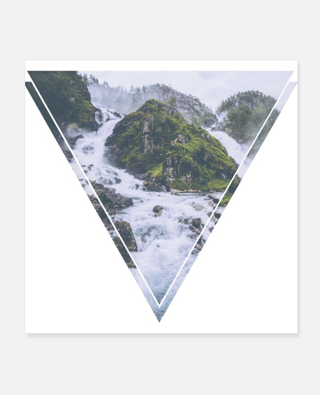 Nature Posters - Mystic waterfall triangle hipster design - Posters white