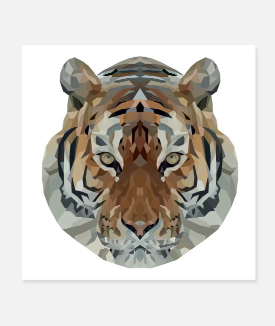 Raider Posters - Low Polygon Tiger - Posters white