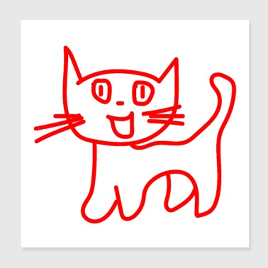 Cat red cat kitten cat - Poster 20x20 cm