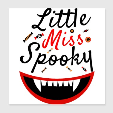Little Miss Spooky - Dents de vampire de citrouille d'Halloween - Poster 20 x 20 cm