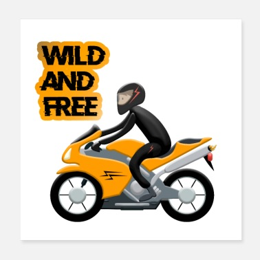 Wheely Wild And Free Motorrad orange - Poster