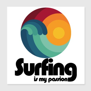 Surfing er min passion - Poster 20x20 cm