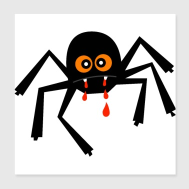 Halloween Spider - Enchanted Witch Web Bloodsucker - Poster 20x20 cm