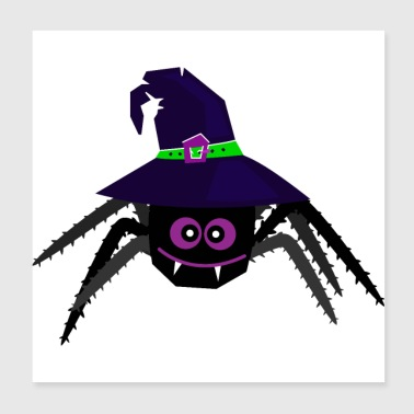 Halloween spider with hat - Enchanted witch net - Poster 20x20 cm