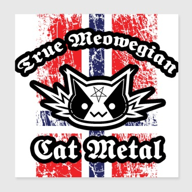 True Meowegian Cat Metal - Norwegian Flag - Poster 20x20 cm