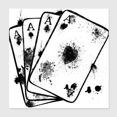 Aces subjects with ink stains ace cards - Poster 20x20 cm