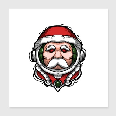 Astronaut Space Babbo Natale Santa Winter Cosmos - Poster 20x20 cm