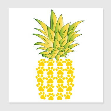 Camiseta Cats Paws Pineapple Design - Póster 20x20 cm