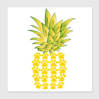 Kissat Paws Pineapple Design T-paita - Juliste 20 x 20 cm