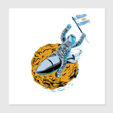 Astronaut flagg Argentina - Poster 20x20 cm
