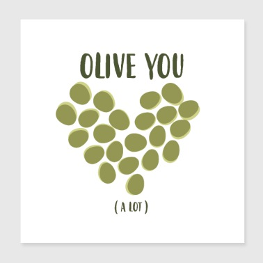 Olive heart love plant gift idea olive tree - Poster 20x20 cm