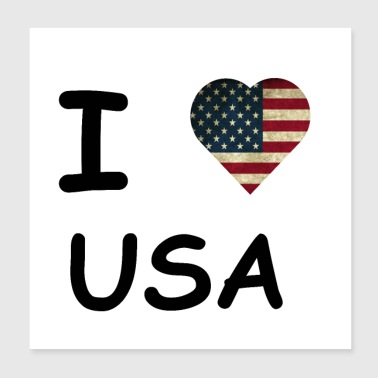 I LOVE USA / AMERICA GIFT IDEA - Poster 20x20 cm