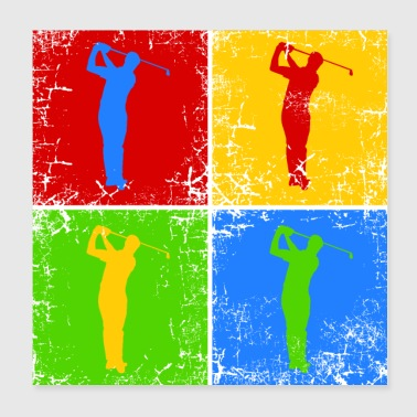 Golfer Golf Golfers Pop Art - Poster 20x20 cm