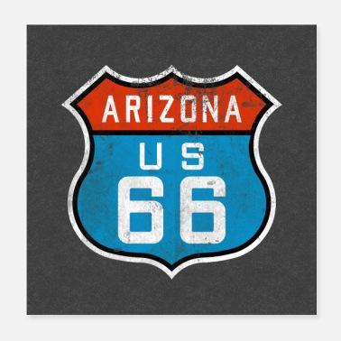 United Route 66 Arizona Retro merkki United States America Souvenir - Juliste 20 x 20 cm