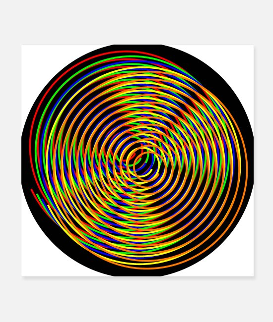 Circles Posters - Spirals colorful of different colors - Posters white